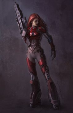 potential character cy-borg suit weapon fighter agent tech