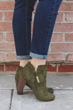 Cute Boutique Boots For Every Occasion When you're headed Out & About and plan to dress to impress, grab these sassy booties for the ultimate shoe statement! Our Out & About Booties are a pair of faux suede, round toe, ankle boots with out Ankle Booties, Bootie Boots, Shoe Boots, Fall Booties, Fall Shoes, Suede Ankle Boots, Green Ankle Boots, Knee High Boots, High Heels
