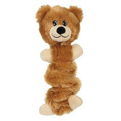 Zanies brown bungee bear with squeaker dog toy
