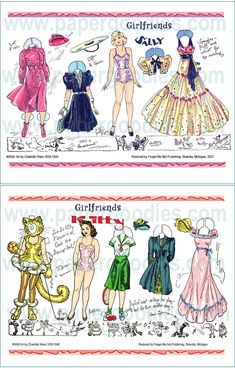 """GIRLFRIENDS, Sally and Kitty by Charlotte Ware Beautifully drawn and appearing in newspapers all across the country, these paper dolls from the """"funny papers"""" were the delight of girls everywhere. In 1949, Saalfield publishers realized the commercial value of these paper dolls and gathered them into a collection of SIXY FOUR pages. They called it Tip Top Dolls with a misleading cover of redrawn figures, giving no clue as to the beautifully drawn art inside."""