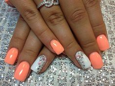 Nails - peach and White with gems