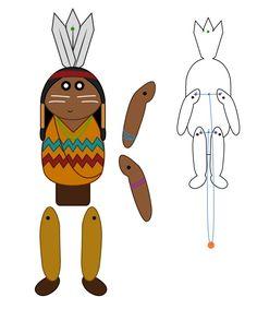 Modèle pour créer un pantin articulé d'indien. Tirez la ficelle et les bras et jambes se lèvent. Thanksgiving Crafts, Fall Crafts, Paper Toys, Paper Crafts, Paper Puppets, Anniversaire Cow-boy, Thanksgiving Activities For Kindergarten, Indian Pow Wow, Diy For Kids