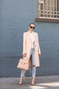 Spring Style: Blush Coat & Roger Vivier Bag by Brooklyn Blonde - Coat: Zara | Denim: Frame | Top: Club Monaco | Shoes: Louboutin | Handbag: Roger Vivier ℅ | Sunglasses: Celine March 31, 2017