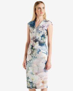 Tile Floral Geo midi dress - Navy | Dresses | Ted Baker