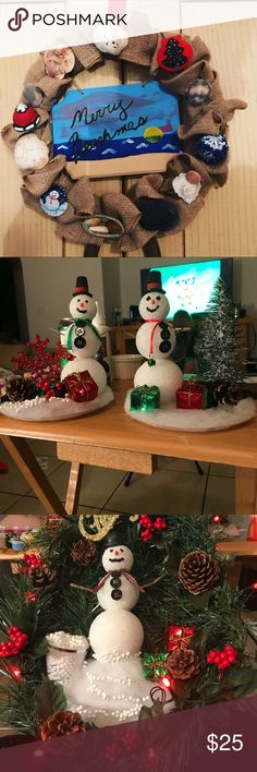 Christmas wreaths and snowmen. Can do costumed and for any season/time of year. Other