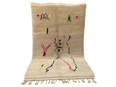 """4'8""""x7'5"""" Moroccan carpets berber, Azilal Colorful Azilal Soft wool rug AUTHENTIC AZILAL CARPET"""