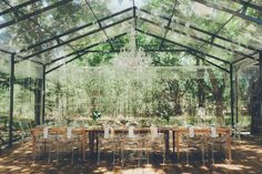 A magical forest wedding in a glass marquee deep within a forest. With an outdoor ceremony down a path through the trees and a reception lit by chandeliers and twinkle lights, it's the very picture of an enchanted forest wedding. Marquee Wedding, Tent Wedding, Wedding Bells, Wedding Table, Wedding Reception, Wedding Flowers, Dream Wedding, Wedding Day, Wedding White