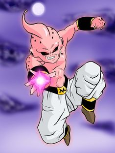 battle with goku on planet of the supreme kai Dragonball Z (c) Akira Toriyama Coloured Kid Buu. Dragon Ball Z, Majin Boo, Special Characters, Cool Posters, Pictures To Draw, Akira, Dbz Gt, Illustration, Painting