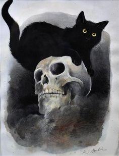 Halloween-Black-Cats - reinhard michl just because рисунки, Black Cat Art, Black Cats, Witch Cat, Arte Horror, Creepy Art, Gothic Art, Dark Fantasy Art, Cat Tattoo, Cat Drawing