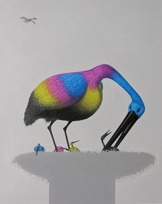 "Painting ""CMYK"" by André Schulze Bird Oil on Canvas Eastgerman Art Surreal Malerei Kunst Vögel Storch"