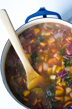 Fall Harvest Soup- a delicious vegan soup that's loaded with fall veggies such as carrots, butternut squash, and kale. The perfect light and healthy comfort soup for cooler weather! │ bbritnell.com