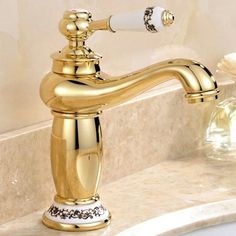 Free Shipping Luxury Single Handle Golden Bathroom Basin Faucet With Solid Br Gold For