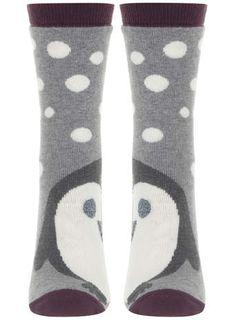Evans Light Grey Penguin Slipper Socks