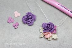 rose earrings jewelry making pattern - DIY crochet purple rose earrings with flowers tutorial - crochet pattern and how to - digital file Diy Crochet Rose, Irish Crochet, Crochet Flowers, Hand Crochet, Crochet Hook Sizes, Thread Crochet, Flower Patterns, Crochet Patterns, Wedding Jewellery Inspiration