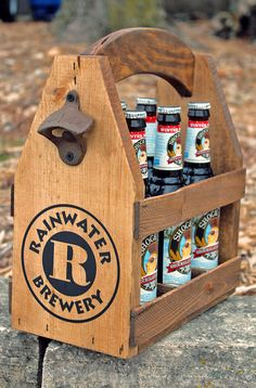 BEER TOTE - Rustic Wood - Beer Carrier - Beer Caddy - Man Cave - Brewery - Personalized - Tailgate - Bottle Opener - Repurposed - Wood by AbsoluteImpressions on Etsy https://www.etsy.com/listing/215551330/beer-tote-rustic-wood-beer-carrier-beer