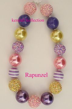 Rapunzel inspired chunky beaded necklace for women, girls, kids