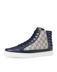 Common+Canvas+&+Leather+High-Top+Sneaker,+Blue/Beige+by+Gucci+at+Neiman+Marcus.