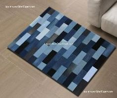 Striped patchwork carpet in recycled jeans