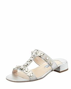 Jeweled+Double-Strap+Slide+Silver+by+Prada+at+Neiman+Marcus.