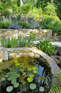 Designed by Tom Mannion.  The wall material is Western Maryland Wall Stone, the caps for the steps and for the pond are of limestone, and the walk itself is Pennsylvania bluestone.