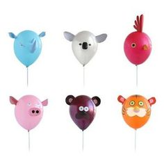 DIY :: Air Heads Animal Party Balloons. Instead of buying, use construction paper and permanent markers. Totally doing this for my lil man's bday party.