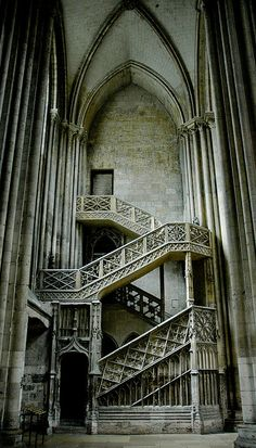 Gothic staircase at Notre Dame de Rouen Cathedral, France