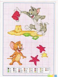 Tom and jerry cross stitch at the beach, sand castle, star fish