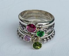 Birthstone Mothers  Rings /  Set of 4 / Faceted by GizmosTreasures, $152.00