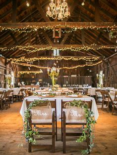 wedding ideas---diy wedding reception decorations with fariy strings, mr and mrs wedding signs with greenery,fall weddings, vintage wedding theme, spring garden weddings Barn Wedding Decorations, Cute Wedding Ideas, Barn Wedding Venue, Wedding Reception Decorations, Farm Wedding, Dream Wedding, Rustic Wedding Theme, Barn Wedding Inspiration, Wedding Pictures