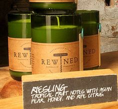 Rewined Candles made of recycled wine bottles offered by Bourbon & Boots! Scents include Chardonnay, Pinot Grigio, Riesling, Sauvignon Blanc,and more! Okay my wine drinking friends, which is quite a few, this is what yall need for Christmas!!!