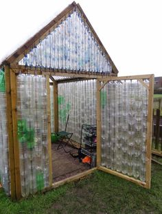 Greenhouse made of plastic bottles!  from RHS Campaign for School Gardening in the UK: http://apps.rhs.org.uk/schoolgardening/uploads/documents/Bottle_Greenhouse_837.pdf: