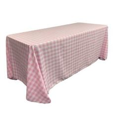 """LA Linen Polyester Gingham Checkered Rectangular Tablecloth Size: 90"""" x 132"""", Color: White and Pink"""