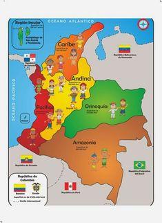 Resultado de imagen para las regiones naturales de colombia con sus departamentos Otaku Anime, Kids Education, Homeschool, Classroom, Activities, How To Plan, Creative, Amazon, Yui