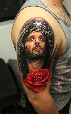 Tattoo By: Alvaro Lara -- Tattoo: Jesus Christ