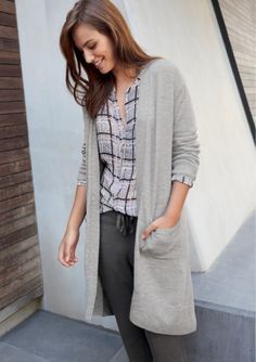 Featuring - Longline Cardi - Collarless Sheer Check Shirt - Charcoal Pant - Deco Tassle Necklace