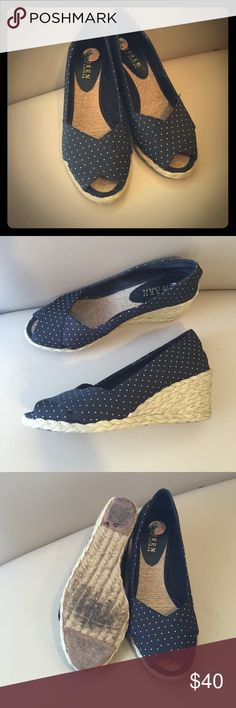 Black Polka Dot Cecelia Open Toe Wedges Size 7 Super cute and comfy black and white polka dot size 7. Gently used with minor signs of wear, see pictures! Lauren Ralph Lauren Shoes Wedges