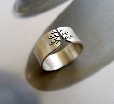 Autumn tree ring Sterling silver ring sanded wide band by Mirma