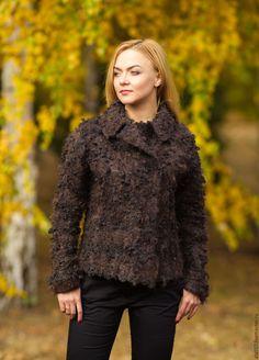 Купить Жакет Пражский- войлок - коричневый, валяная одежда, пальто из шерсти, одежда из войлока