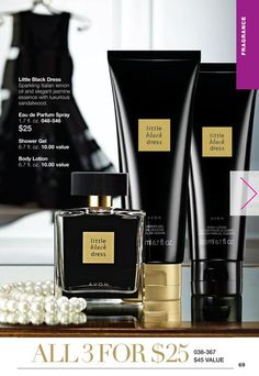 Avon Little Black Dress is a blend of sparkling Italian lemon oil and elegant jasmine essence with luxurious sandalwood.  You can get all three items for $25.    Check it out at my eStore: https://jtomlinson.avonrepresentative.com/