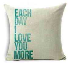 Shape: SquareMaterial: Linen / CottonTechnics: WovenModel Number: Love BZTPattern: Printed 1 sidePattern Type: Character Size: 18 x 18 in Decorative Pillow Cases, Throw Pillow Cases, Pillow Covers, Throw Pillows, Cushion Pillow, Pillowcase Pattern, Love Messages, Love You More, Proverbs