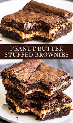 Peanut Butter Stuffed Brownies are chewy, fudgy chocolate brownies stuffed with .Peanut Butter Stuffed Brownies are chewy, fudgy chocolate brownies stuffed with a thick layer of peanut butter for the best treat. Easy, homemade, from-scratch recipe Best Brownies, Fudge Brownies, Chocolate Brownies, Chocolate Chip Cookies, Oreo Cookies, Brownies With Peanut Butter, Chocolate Peanut Butter Dessert, Boxed Brownies, Peanut Butter Dessert Recipes