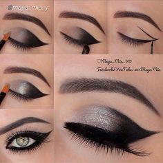 Makeup eyeshadow step by step tutorial. smoky eye, silver eye shadow, cat eye, falsies