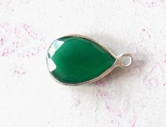 Beautiful green onyx bezel pear shape single bail connector, 10X12 mm Pear Shape - faceted handmade - Silver Plated (PJ04185PJ) by PlantofJewel on Etsy