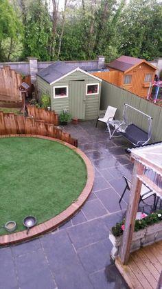 Circular Garden, Artificial Turf, Railway Sleepers, Garden Design