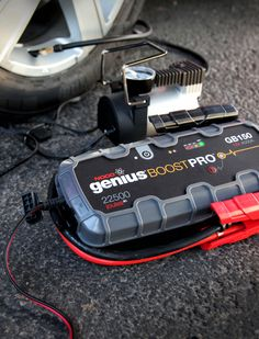 We like to pump up tires on our lunch break. Power 12V tire pumps with the 12V outport on the GB150 lithium jump starter. Jump start 10L+ Gas and Diesel engines. Safe to use on engines of any size. Learn more at: no.co/gb150