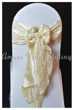 #wedding #sash #taffeta #champagne #ivory #lace #pearl #brooch
