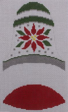 Dimensional Bell: Poinsettia hand painted needlepoint canvas by Labors of Love #LaborsofLoveNeedlepoint