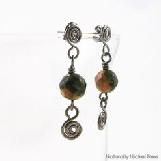 065ee3904 Unakite Stone Bead Spiral Post Drop Earrings by Naturally Nickel Free  Jewelry For Sensitive Skin Unique
