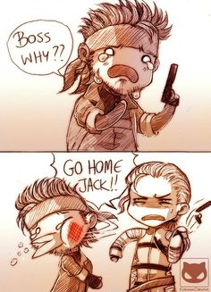 I love how Snake's interaction with The Boss in is basically her manhandling him, disarming his gun and telling him to go home li. Metal Gear Solid: GO HOME JACK! Big Boss Metal Gear, Snake Metal Gear, Metal Gear Games, Metal Gear Solid Series, V Games, Funny Games, Videogames, Metal Gear Rising, Kojima Productions