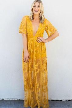 Gemma Mustard Lace Maxi Dress